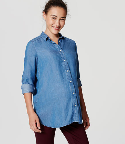 Image of Maternity Shirred Chambray Softened Shirt