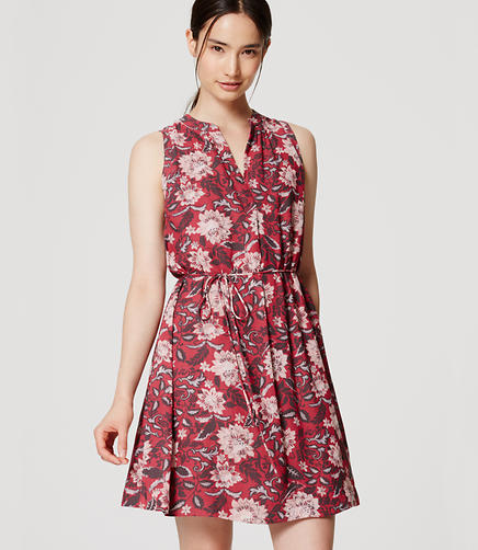 Image of Floral Sleeveless Tie Waist Shirtdress