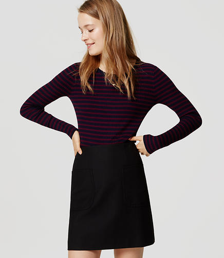 Image of Petite Stripe Ribbed Sweater