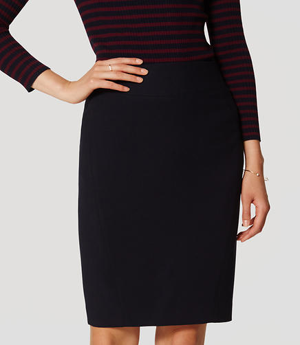 Image of Petite Curvy Seamed Scuba Pencil Skirt