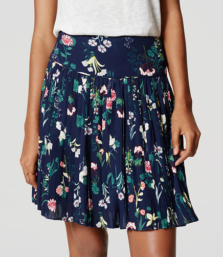 Image of Petite Valley Floral Pleated Skirt