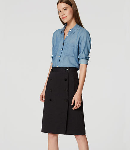 Image of Petite Button Front Skirt