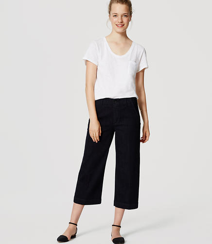 Image of Petite Cropped Wide Leg Jeans in Rich Dark Indigo Wash
