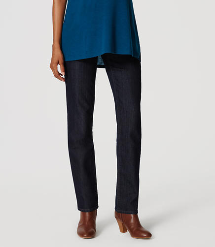 Image of Petite Maternity Straight Leg Jeans in Dark Rinse Wash