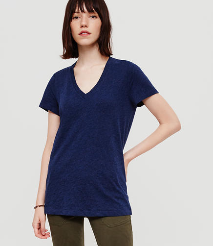 Image of Lou & Grey Airy Cotton V-Neck Tee