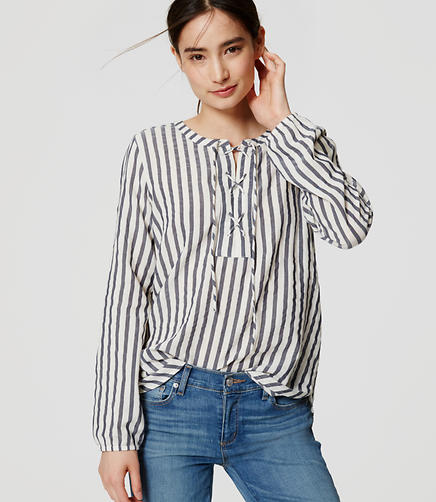 Image of Striped Lace Up Blouse