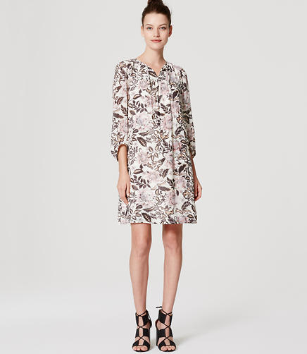 Image of Woodblock Floral Shirtdress