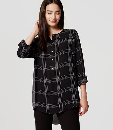 Image of Petite Plaid Henley Utility Tunic