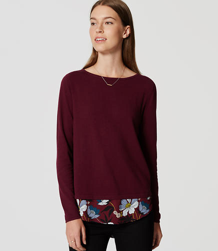 Image of Petite Floral Mixed Media Shirttail Sweater