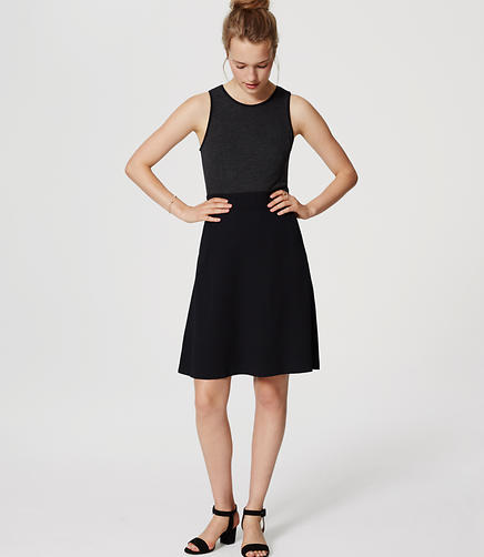 Image of Petite Mixed Media Flare Dress