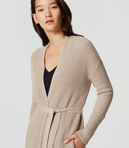 Image of Petite Belted Ribbed Cardigan