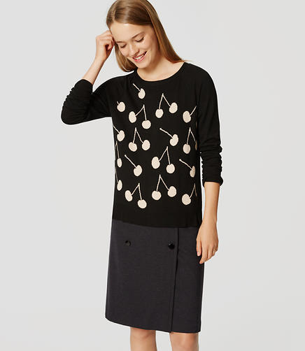 Image of Petite Cherry Button Back Sweater