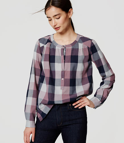 Image of Plaid Henley Blouse