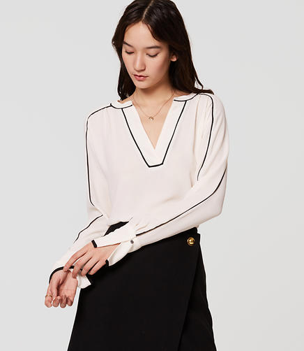 Image of Tipped Split Neck Blouse