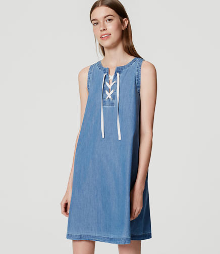 Image of Chambray Lace Up Dress
