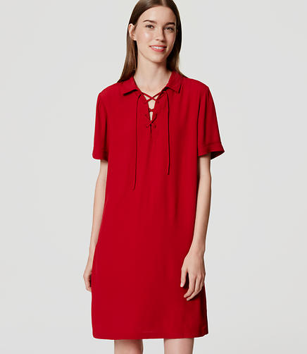 Image of Lace Up Shirtdress