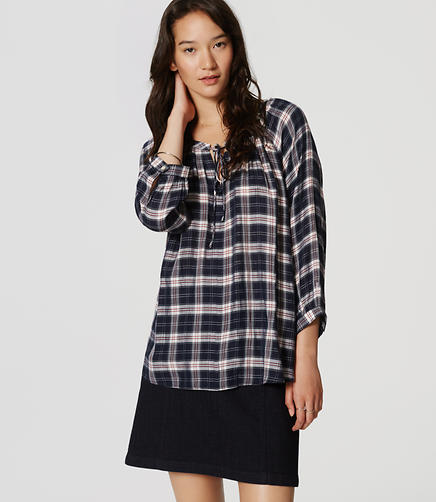 Image of Plaid Peasant Blouse