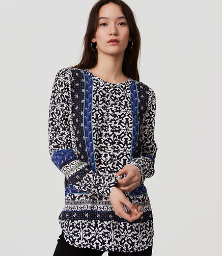 Image of Floral Mosaic Henley Tunic