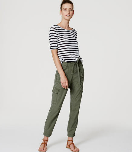 Image of Petite Tie Waist Cargo Pants