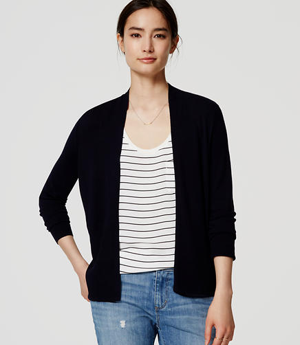 Image of Petite Ribbed Open Cardigan