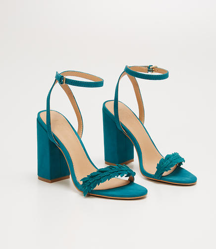 Image of Leafed Block Heel Sandals