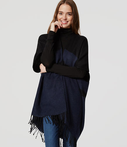 Image of Colorblock Fringe Poncho