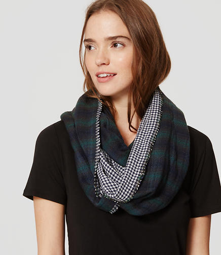 Image of Mixed Plaid Infinity Scarf