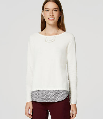 Image of Petite Geo Mixed Media Shirttail Sweater