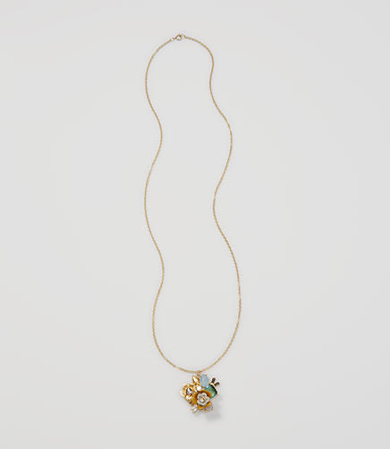Image of Mixed Stone Floral Pendant Necklace