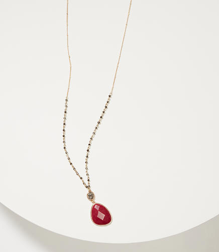 Image of Rondelle Stone Pendant Necklace