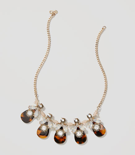 Image of Tortoiseshell Print Crystal Necklace