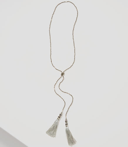Image of Frost Beaded Double Tassel Necklace