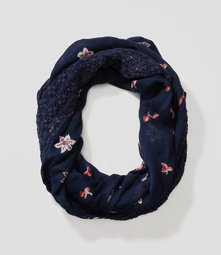 Image of Lacy Floral Infinity Scarf
