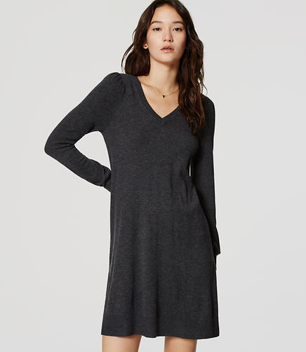 Image of V-Neck Swing Sweater Dress