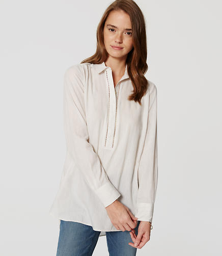 Image of Petite Ladder Lace Tunic Shirt