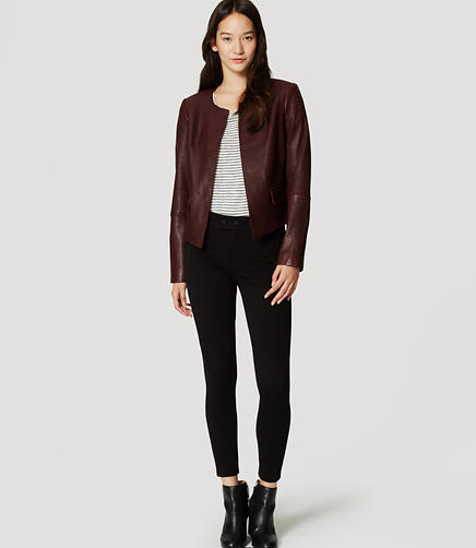 Image of Petite Collarless Leather Jacket