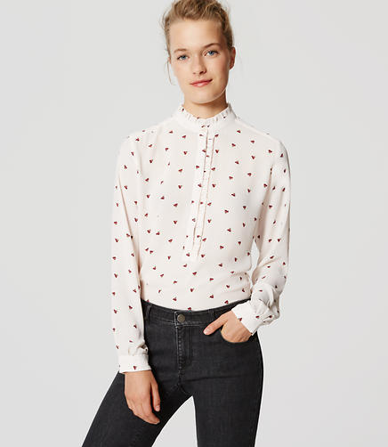 Image of Petite Blossom Ruffle Henley Blouse