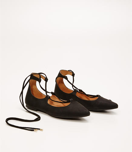 Image of Lace Up Pointy Toe Flats