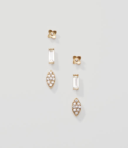 Image of Floral Crystal Stud Earring Set