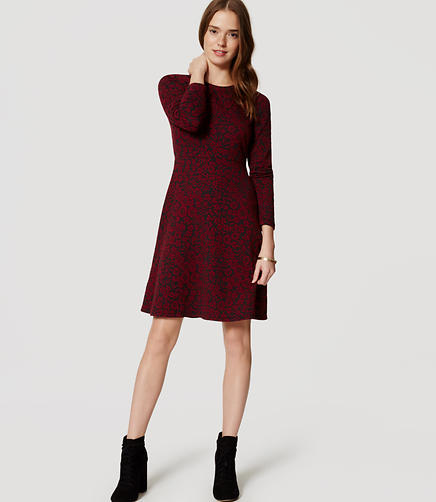 Image of Petite Crimson Floral Jacquard Dress