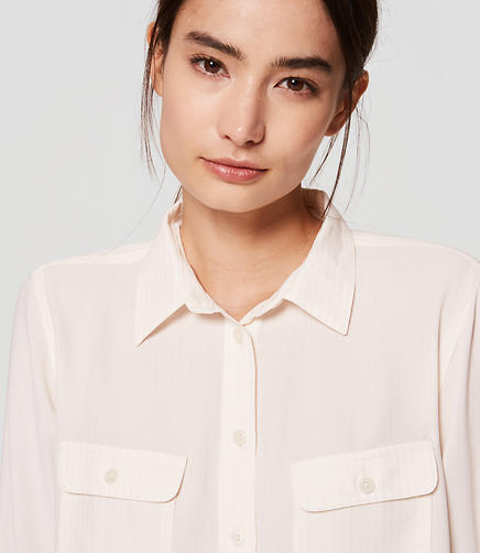Image of Shimmer Stripe Utility Blouse