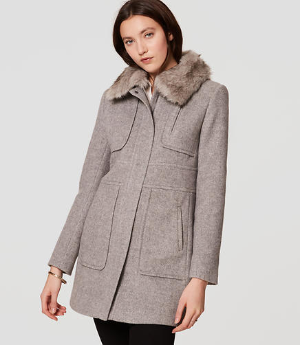 Image of Faux Fur Trim Coat
