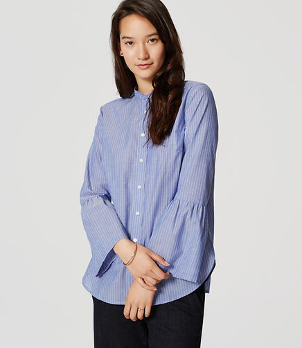 Image of Petite Striped Bell Sleeve Softened Shirt