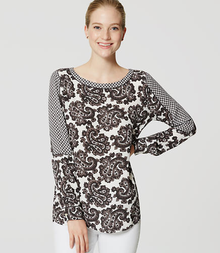 Image of Petite Mixed Paisley Blouse