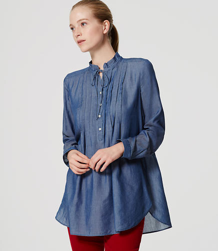 Image of Chambray Ruffle Tunic Softened Shirt