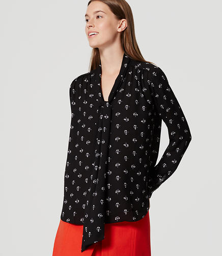 Image of Petite Geo Bow Blouse