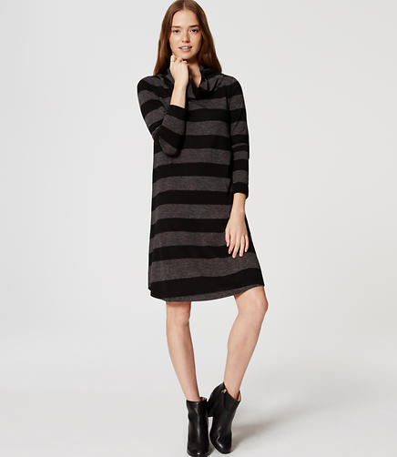 Image of Petite Striped Cowl Neck Dress
