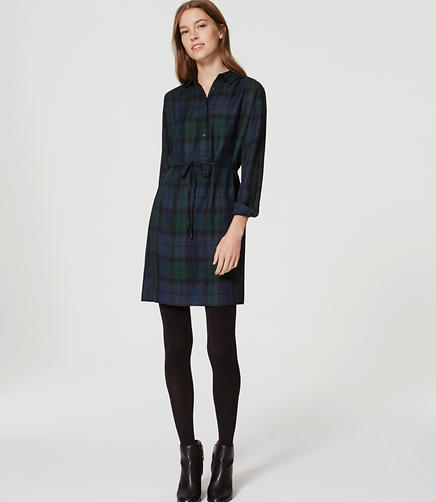 Image of Petite Plaid Tie Waist Shirtdress