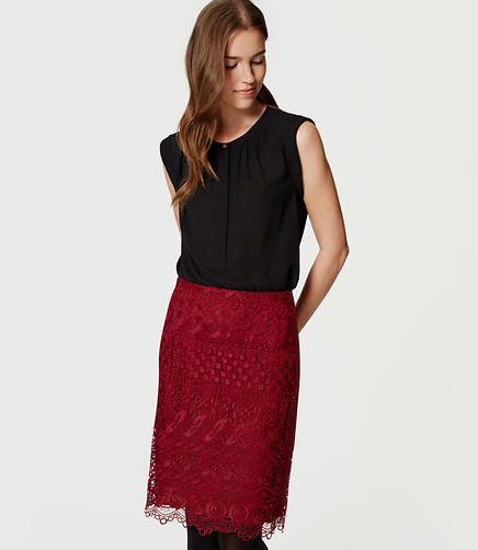 Image of Petite Floral Lace Pencil Skirt