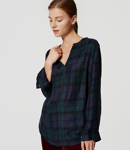 Image of Plaid Tunic Softened Shirt